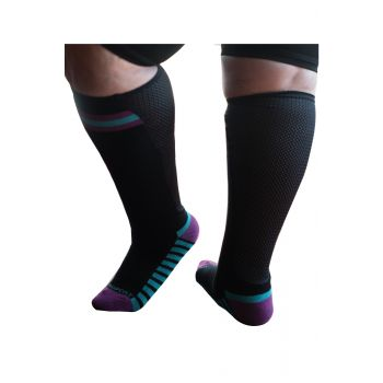 XpandaSport® Womens knee high sports socks in Black and Purple with a breathable Mesh Xpandapanel calf area.